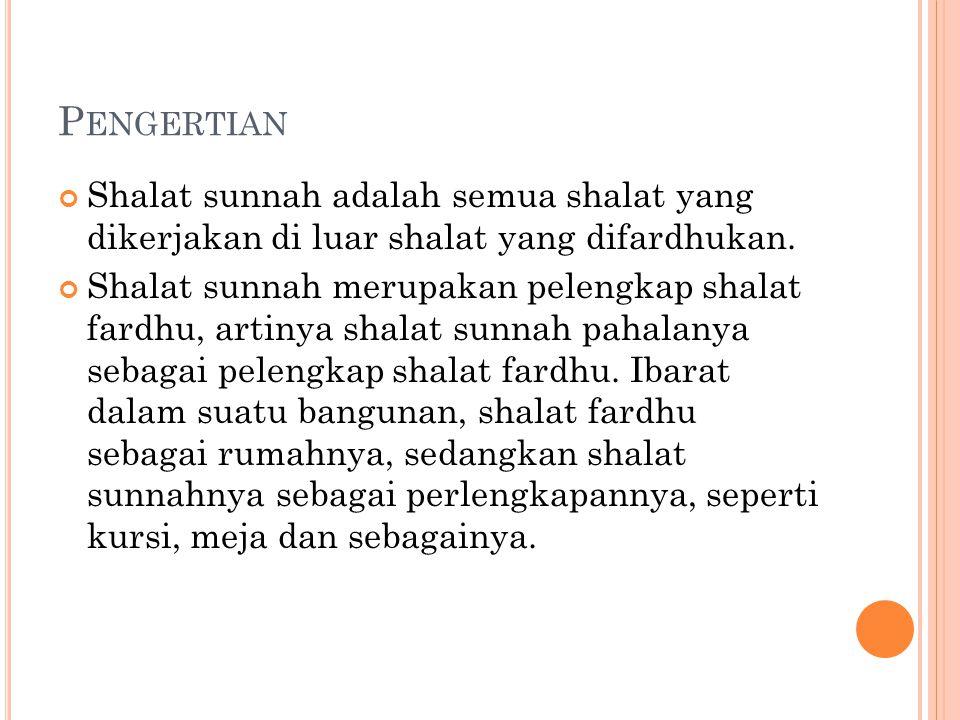 Pengertian Shalat sunnah adalah semua shalat yang dikerjakan di luar shalat yang difardhukan.