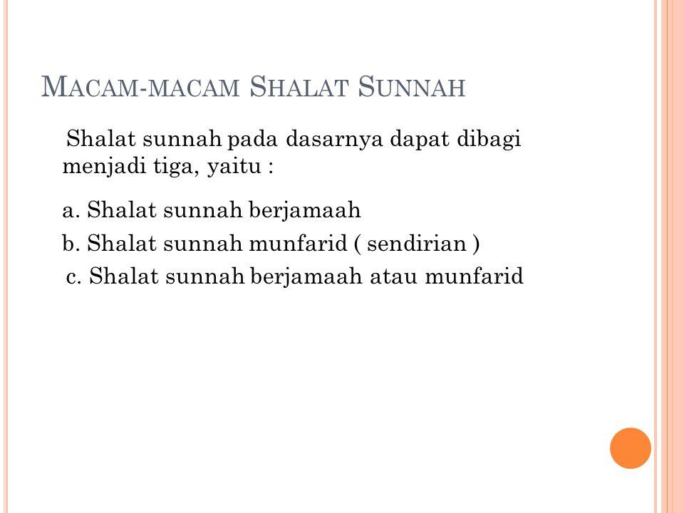 Macam-macam Shalat Sunnah