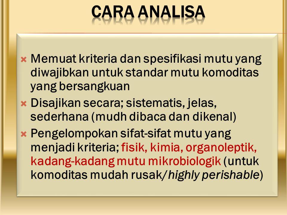 CARA ANALISA Memuat kriteria dan spesifikasi mutu yang diwajibkan untuk standar mutu komoditas yang bersangkuan.
