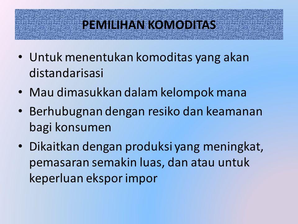 PEMILIHAN KOMODITAS Untuk menentukan komoditas yang akan distandarisasi. Mau dimasukkan dalam kelompok mana.