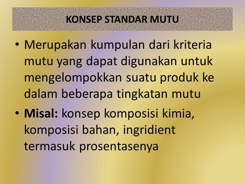 KONSEP STANDAR MUTU Merupakan kumpulan dari kriteria mutu yang dapat digunakan untuk mengelompokkan suatu produk ke dalam beberapa tingkatan mutu.