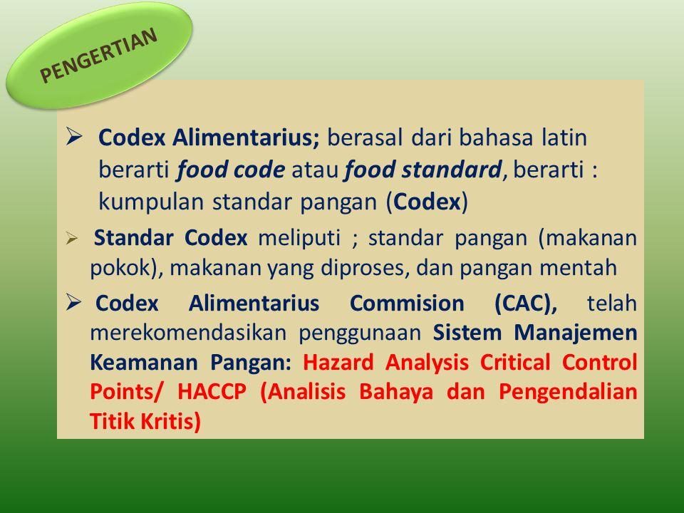PENGERTIAN Codex Alimentarius; berasal dari bahasa latin berarti food code atau food standard, berarti : kumpulan standar pangan (Codex)