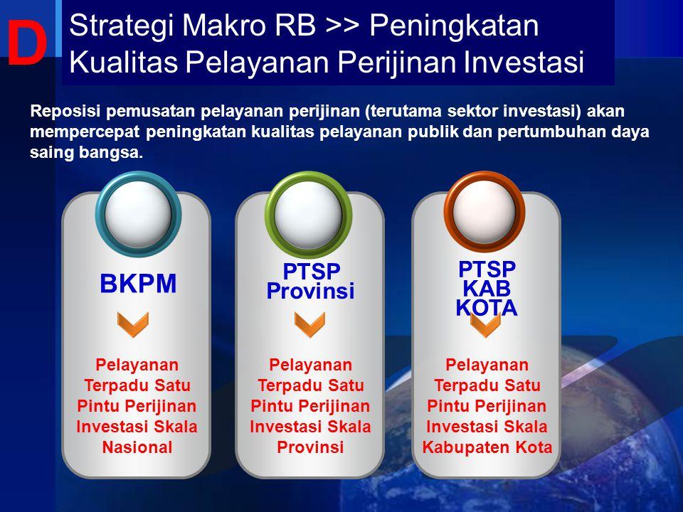 D Strategi Makro RB >> Peningkatan Kualitas Pelayanan Perijinan Investasi.
