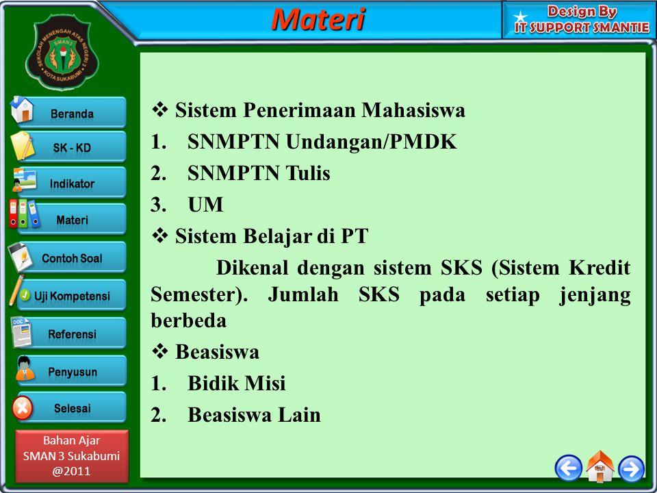 Materi Sistem Penerimaan Mahasiswa SNMPTN Undangan/PMDK SNMPTN Tulis