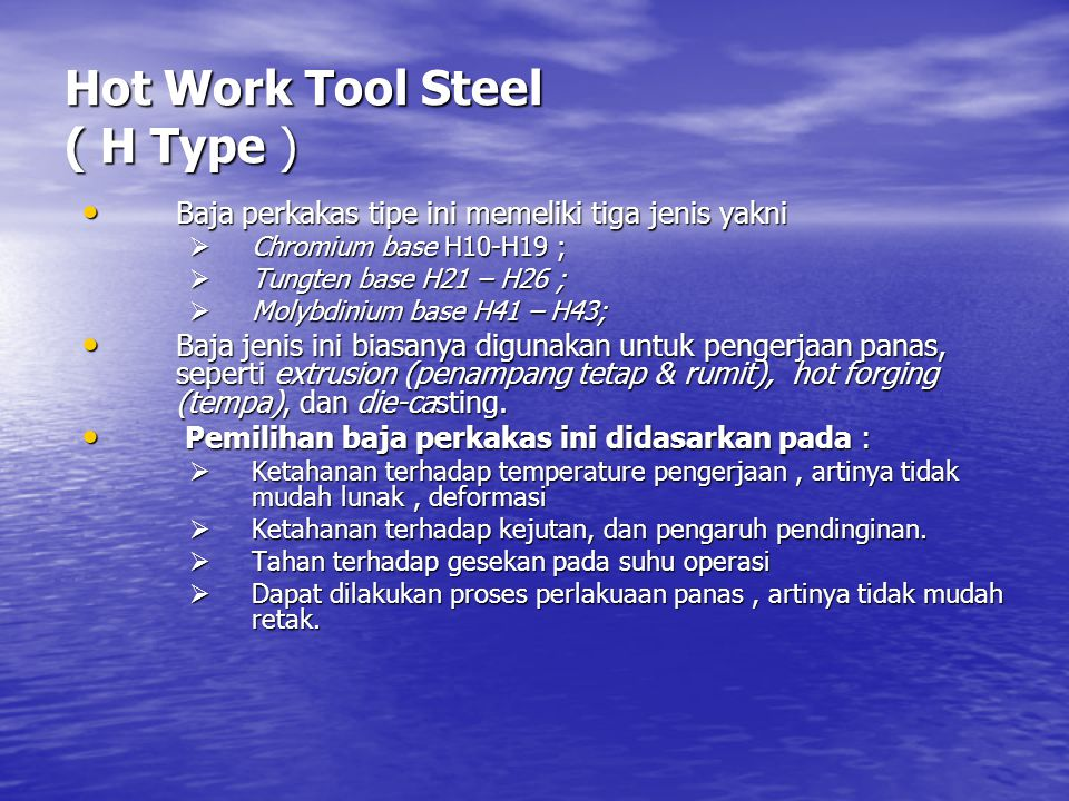 Hot Work Tool Steel ( H Type )