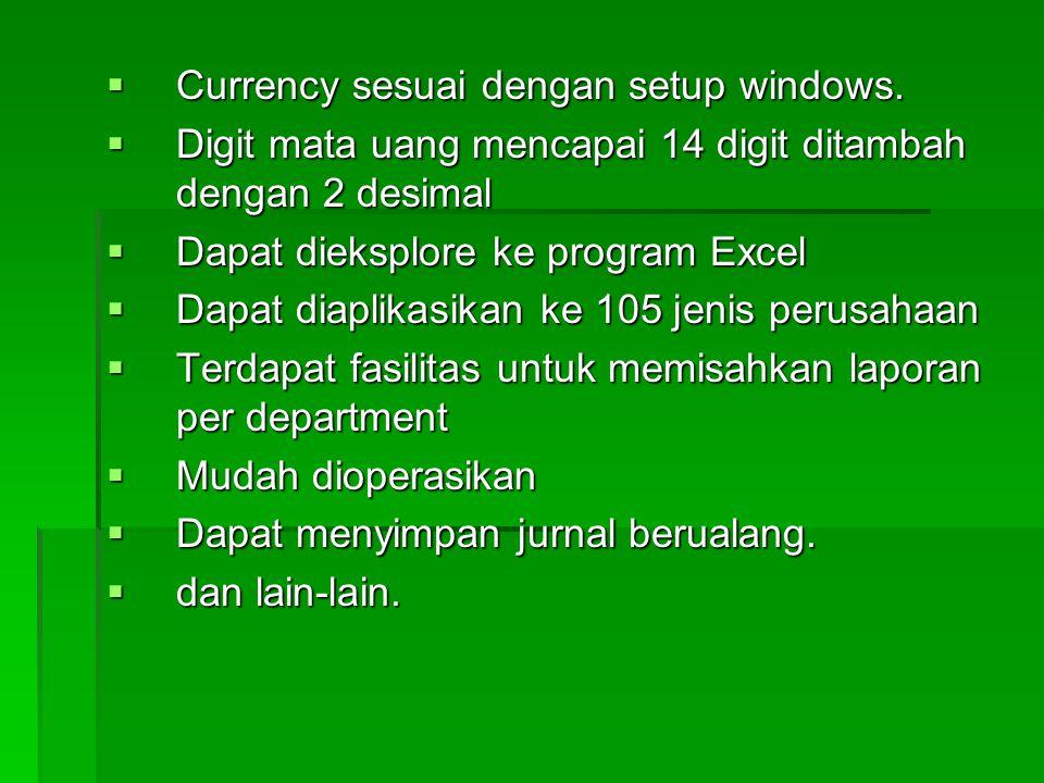 Currency sesuai dengan setup windows.