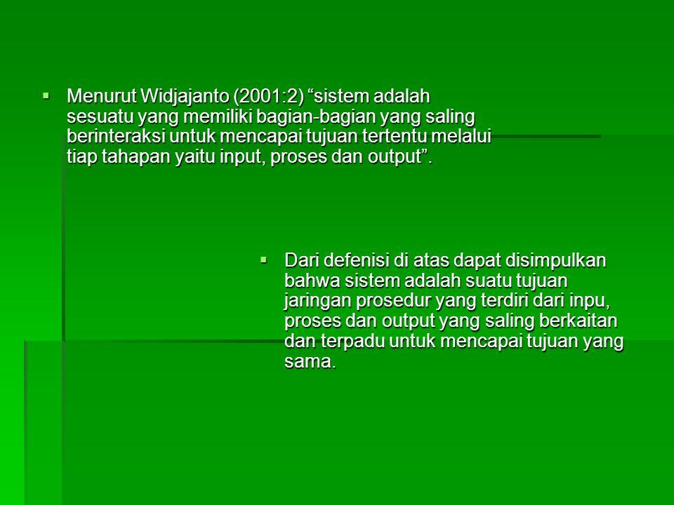 Menurut Widjajanto (2001:2) sistem adalah sesuatu yang memiliki bagian-bagian yang saling berinteraksi untuk mencapai tujuan tertentu melalui tiap tahapan yaitu input, proses dan output .