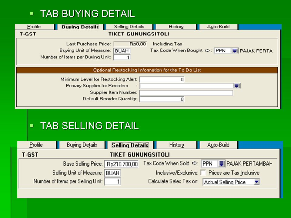 TAB BUYING DETAIL TAB SELLING DETAIL