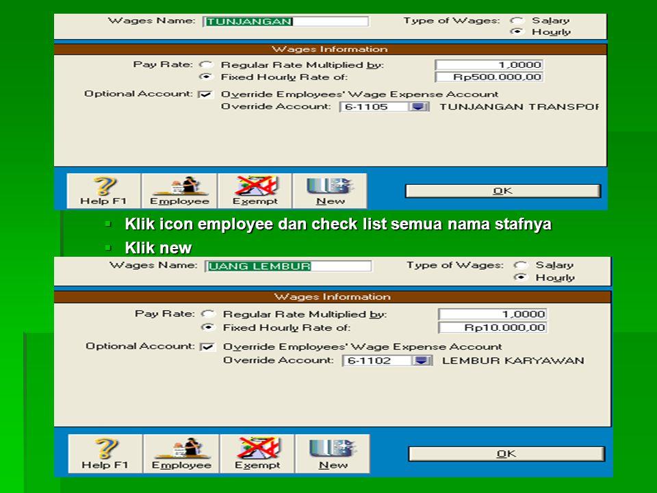 Klik icon employee dan check list semua nama stafnya