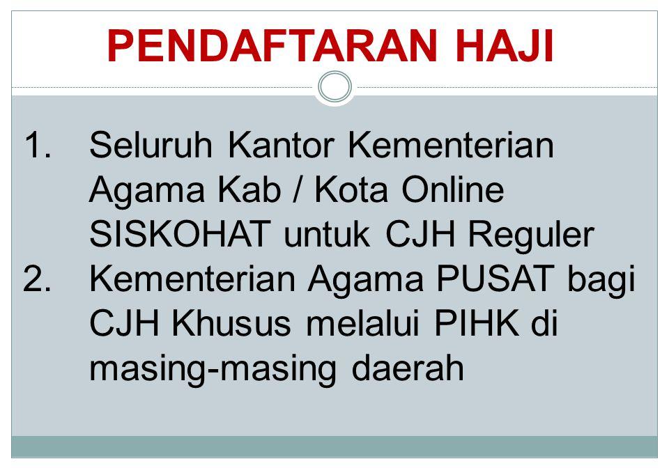 PENDAFTARAN HAJI Seluruh Kantor Kementerian Agama Kab / Kota Online SISKOHAT untuk CJH Reguler.