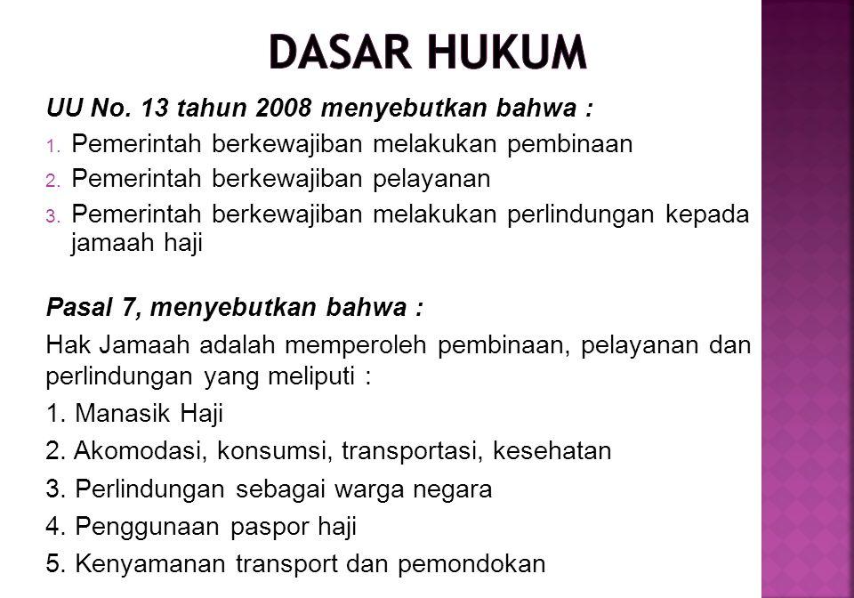 DASAR HUKUM UU No. 13 tahun 2008 menyebutkan bahwa :