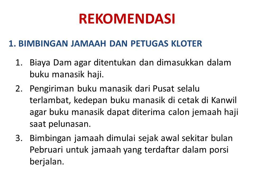 REKOMENDASI 1. BIMBINGAN JAMAAH DAN PETUGAS KLOTER