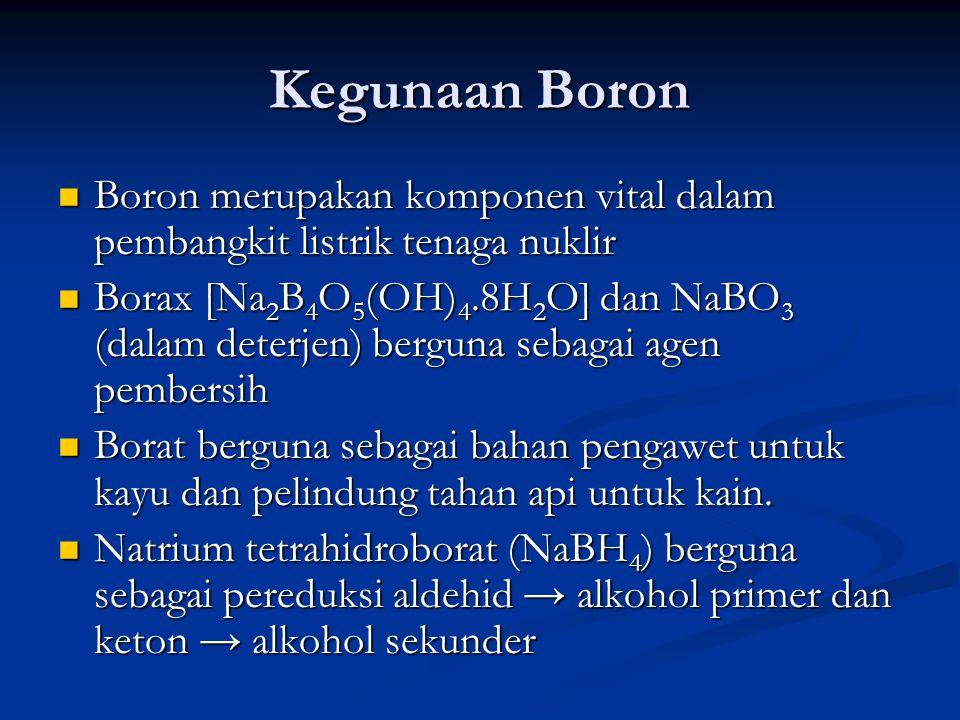 Kegunaan Boron Boron merupakan komponen vital dalam pembangkit listrik tenaga nuklir.