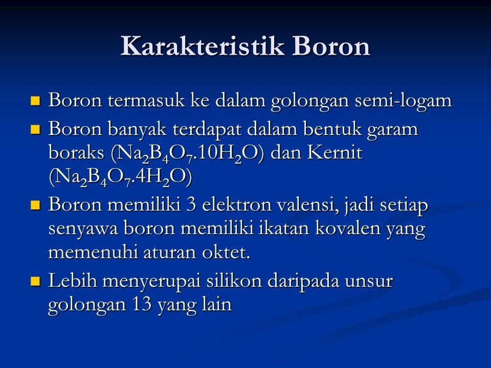 Karakteristik Boron Boron termasuk ke dalam golongan semi-logam