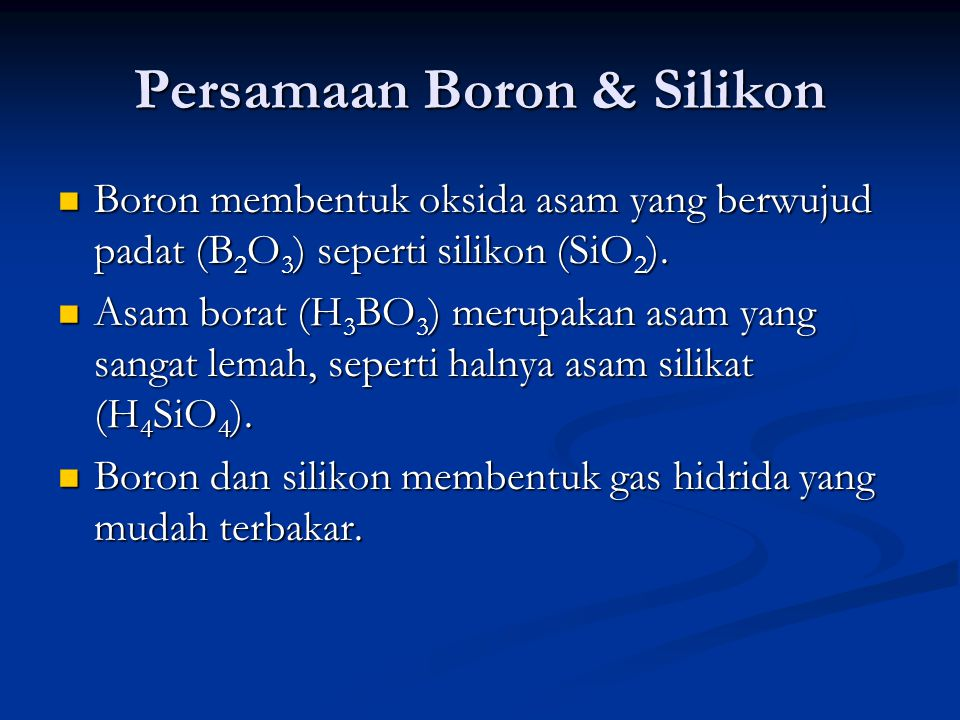 Persamaan Boron & Silikon