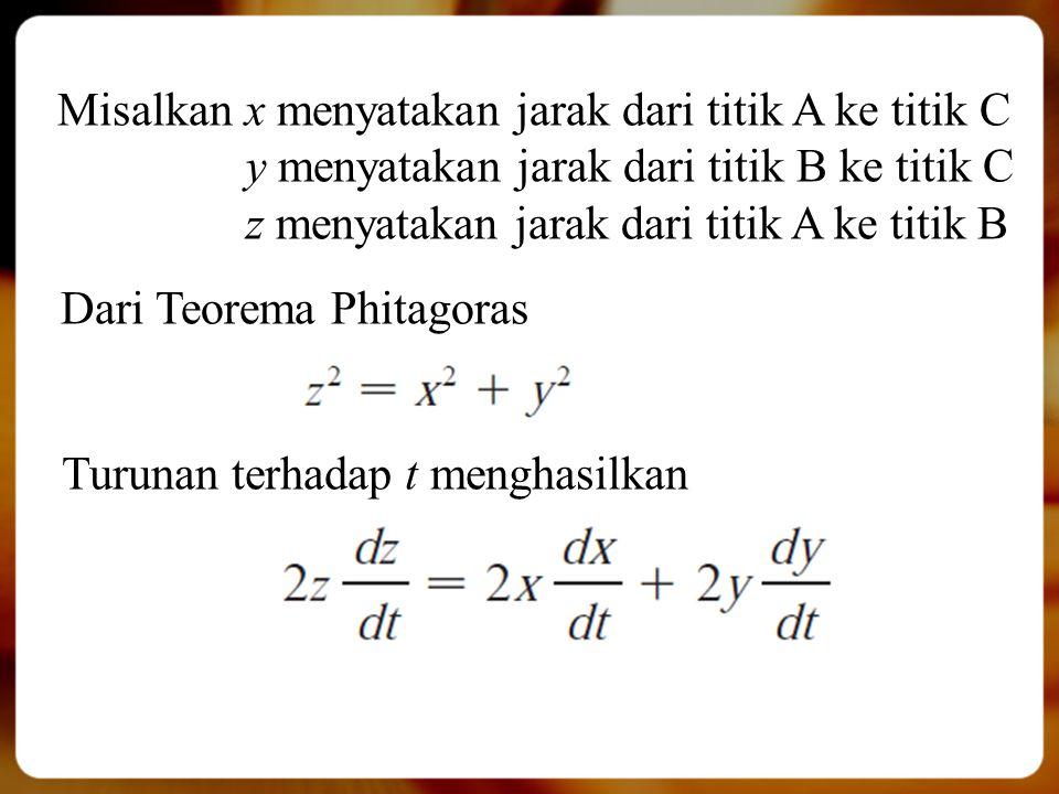 Misalkan x menyatakan jarak dari titik A ke titik C