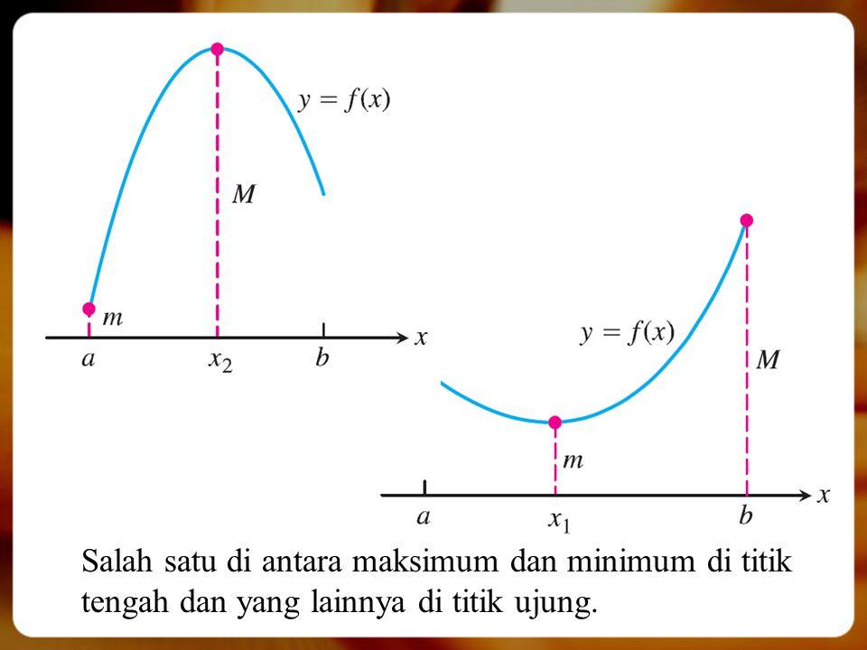 Salah satu di antara maksimum dan minimum di titik tengah dan yang lainnya di titik ujung.