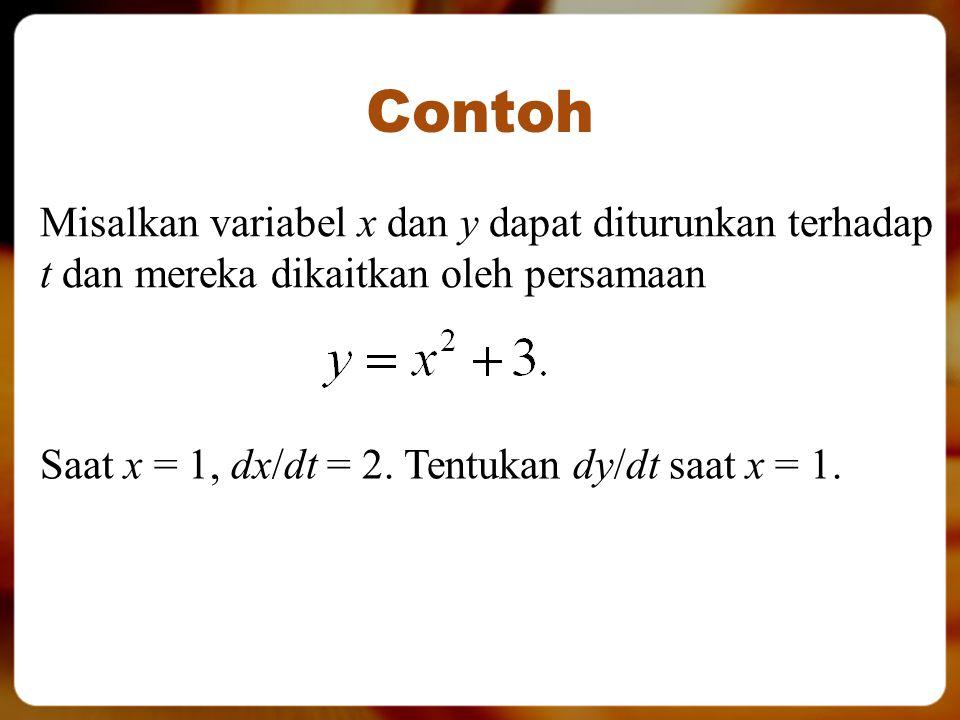 Contoh Misalkan variabel x dan y dapat diturunkan terhadap