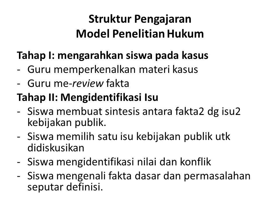 Struktur Pengajaran Model Penelitian Hukum