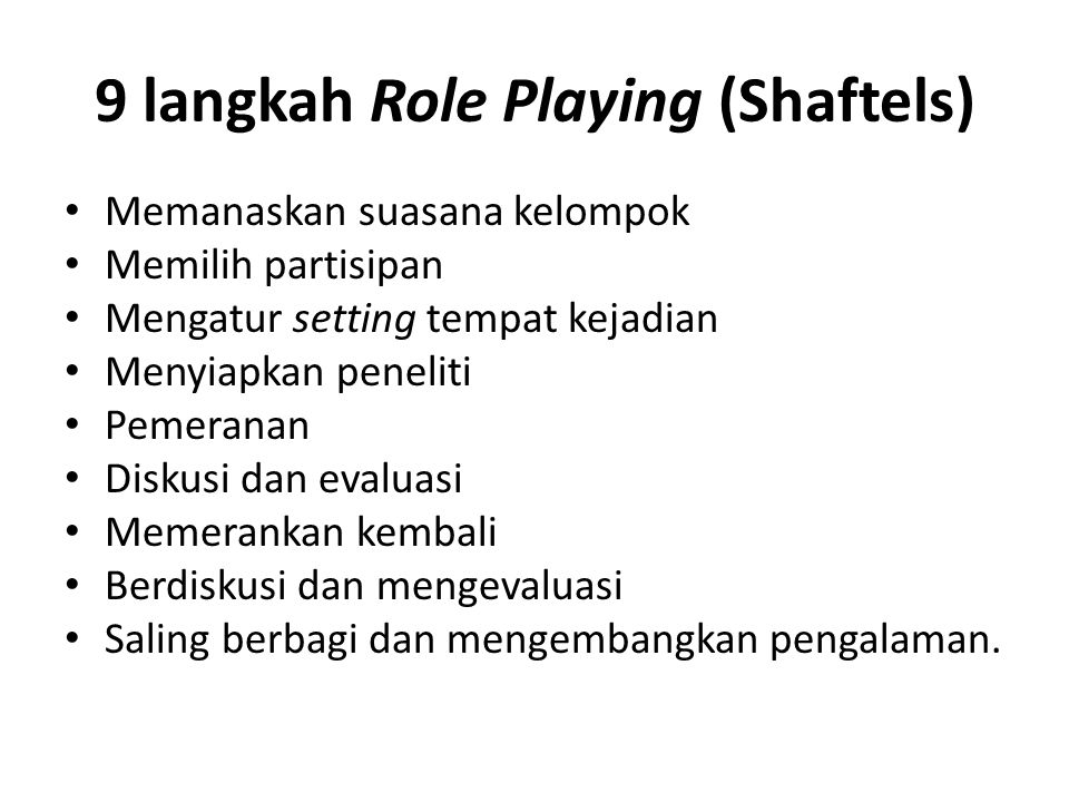 9 langkah Role Playing (Shaftels)