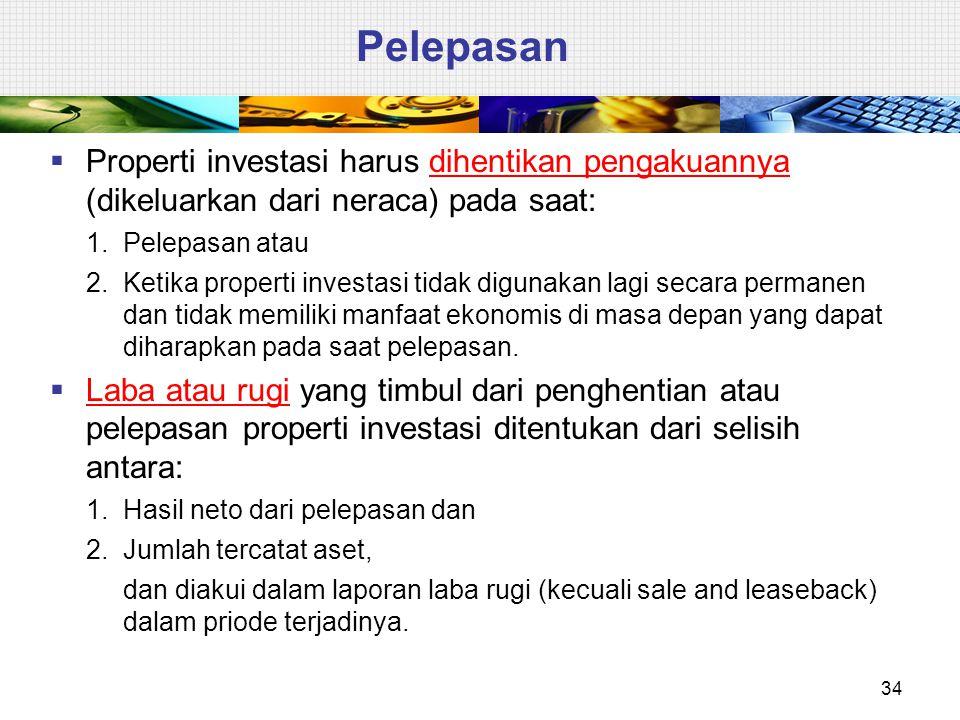 Pelepasan Properti investasi harus dihentikan pengakuannya (dikeluarkan dari neraca) pada saat: 1. Pelepasan atau.