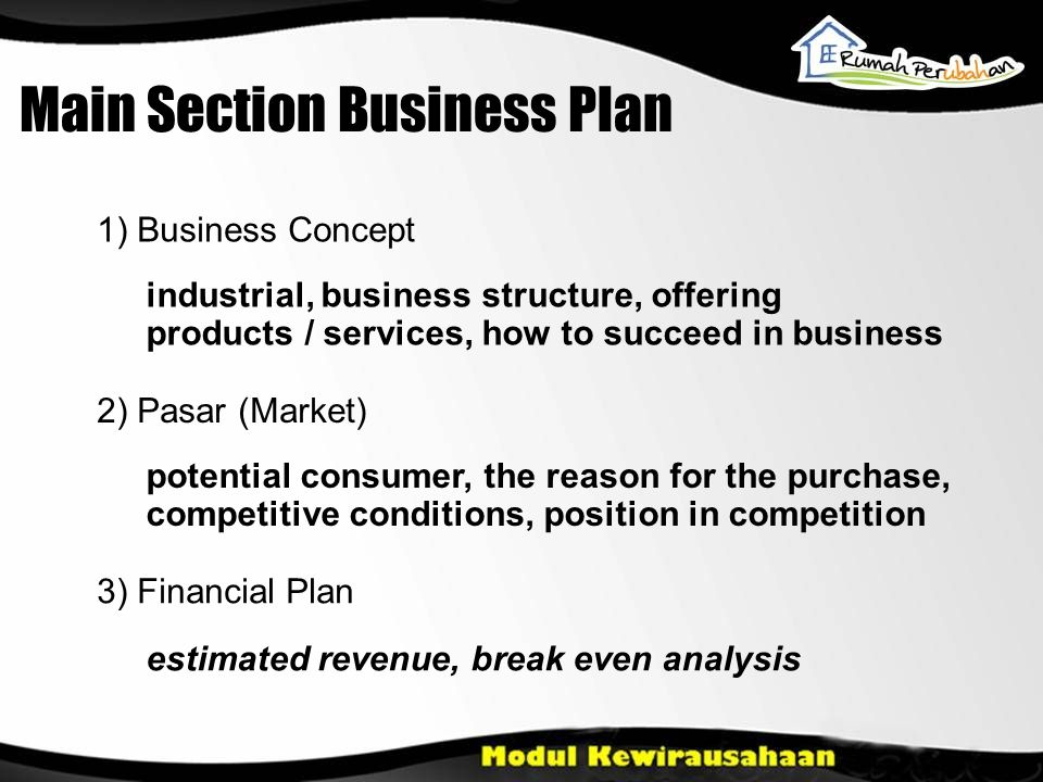 Main Section Business Plan