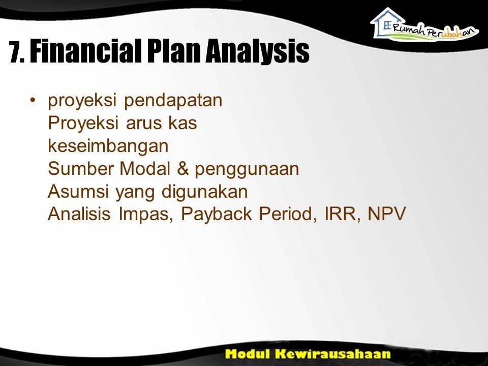 7. Financial Plan Analysis