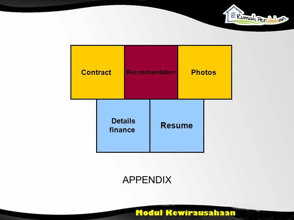 Contract Recommendation Photos Details finance Resume APPENDIX