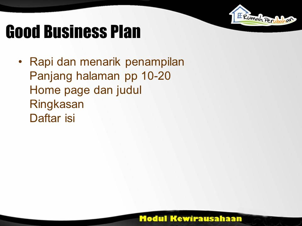Good Business Plan Rapi dan menarik penampilan Panjang halaman pp 10-20 Home page dan judul Ringkasan Daftar isi.