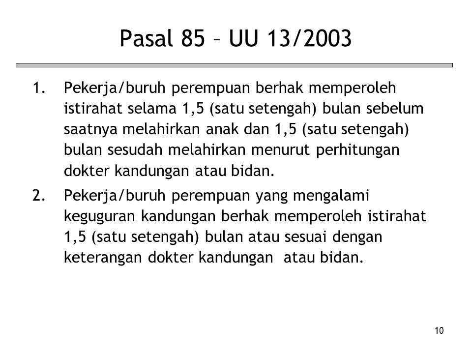 Pasal 85 – UU 13/2003