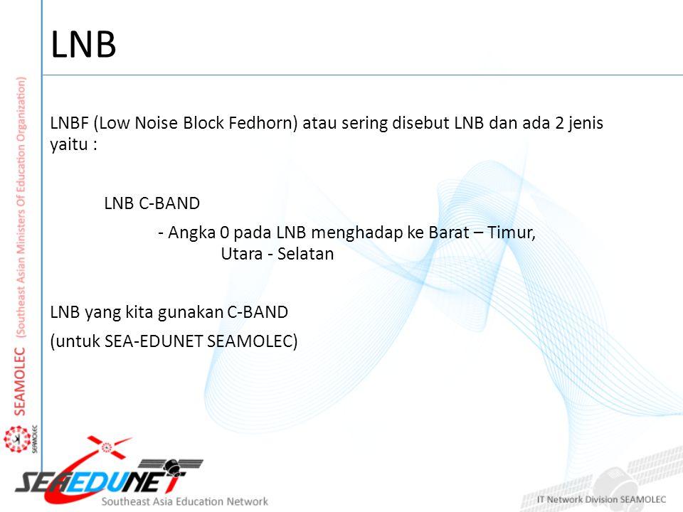 LNB LNBF (Low Noise Block Fedhorn) atau sering disebut LNB dan ada 2 jenis yaitu : LNB C-BAND.