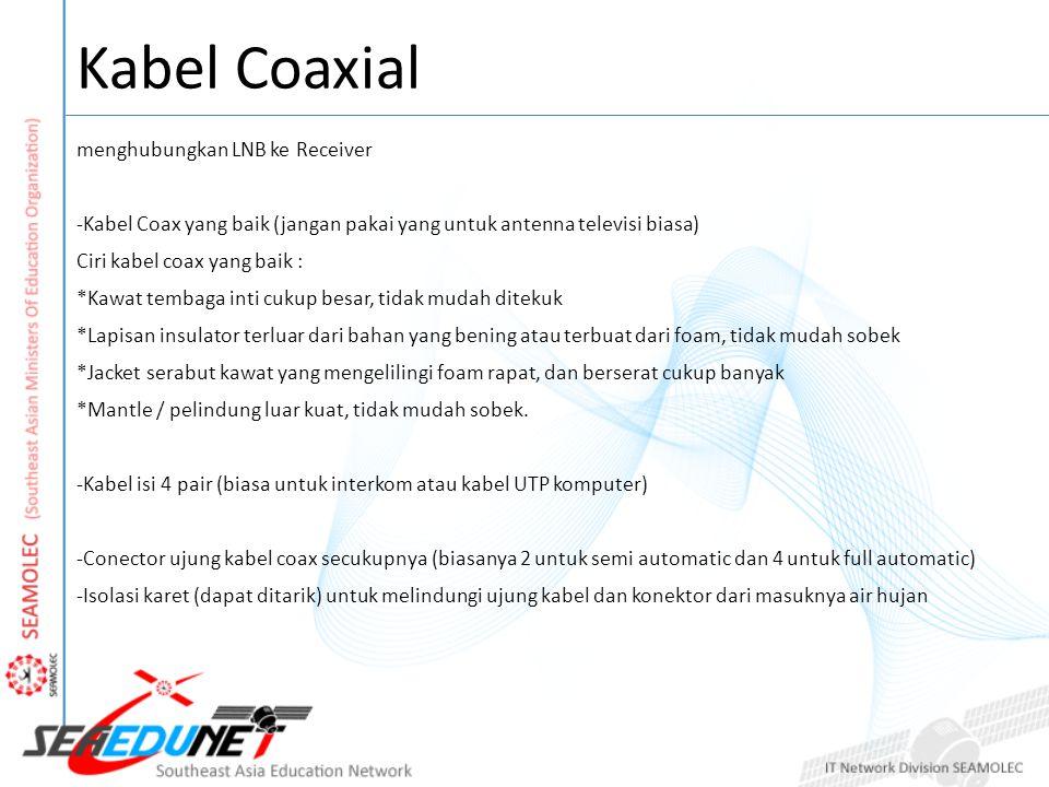 Kabel Coaxial menghubungkan LNB ke Receiver