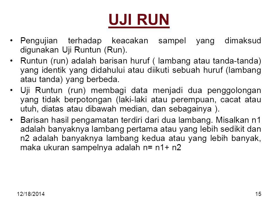 UJI RUN Pengujian terhadap keacakan sampel yang dimaksud digunakan Uji Runtun (Run).