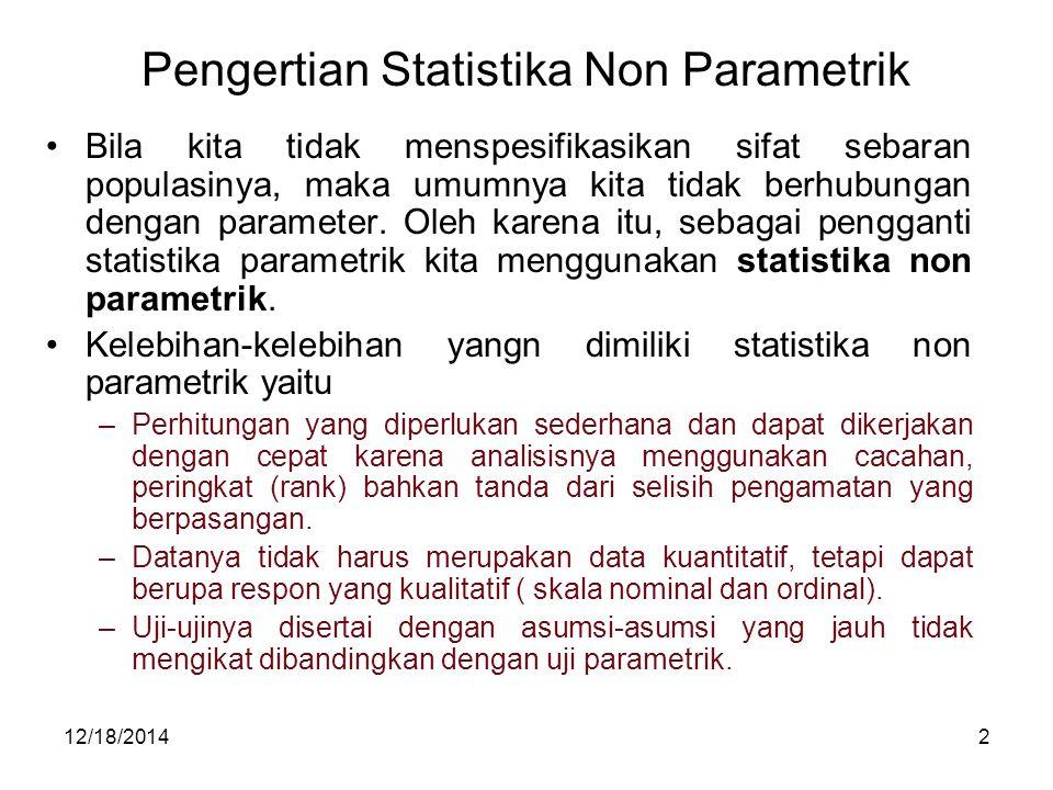Pengertian Statistika Non Parametrik