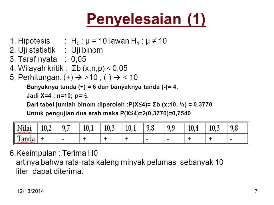 Penyelesaian (1) 1. Hipotesis : H0 : µ = 10 lawan H1 : µ ≠ 10