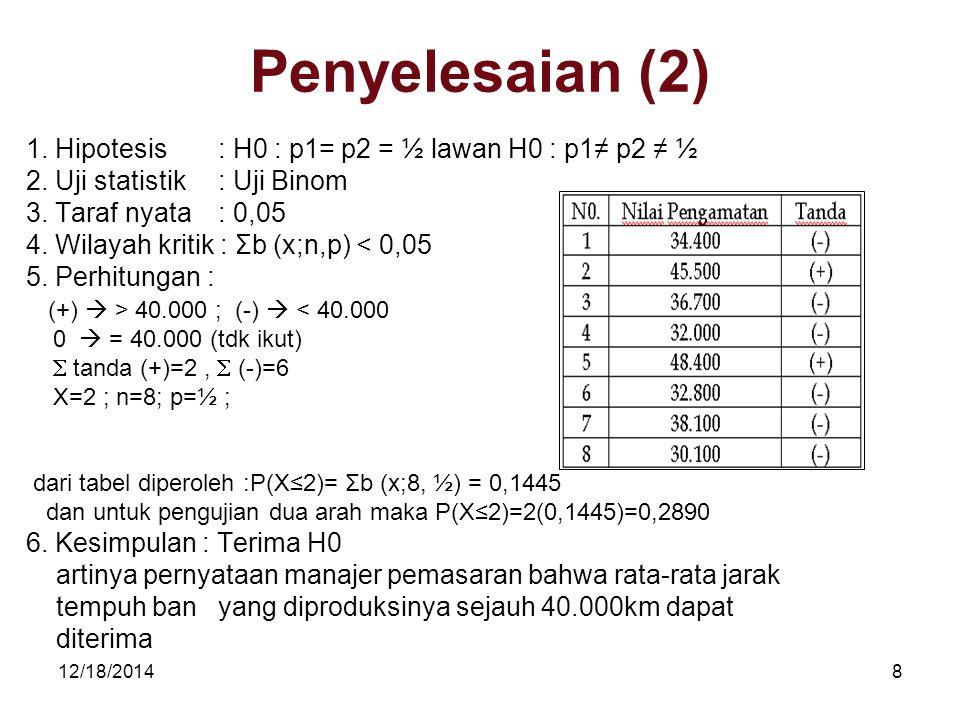Penyelesaian (2) 1. Hipotesis : H0 : p1= p2 = ½ lawan H0 : p1≠ p2 ≠ ½