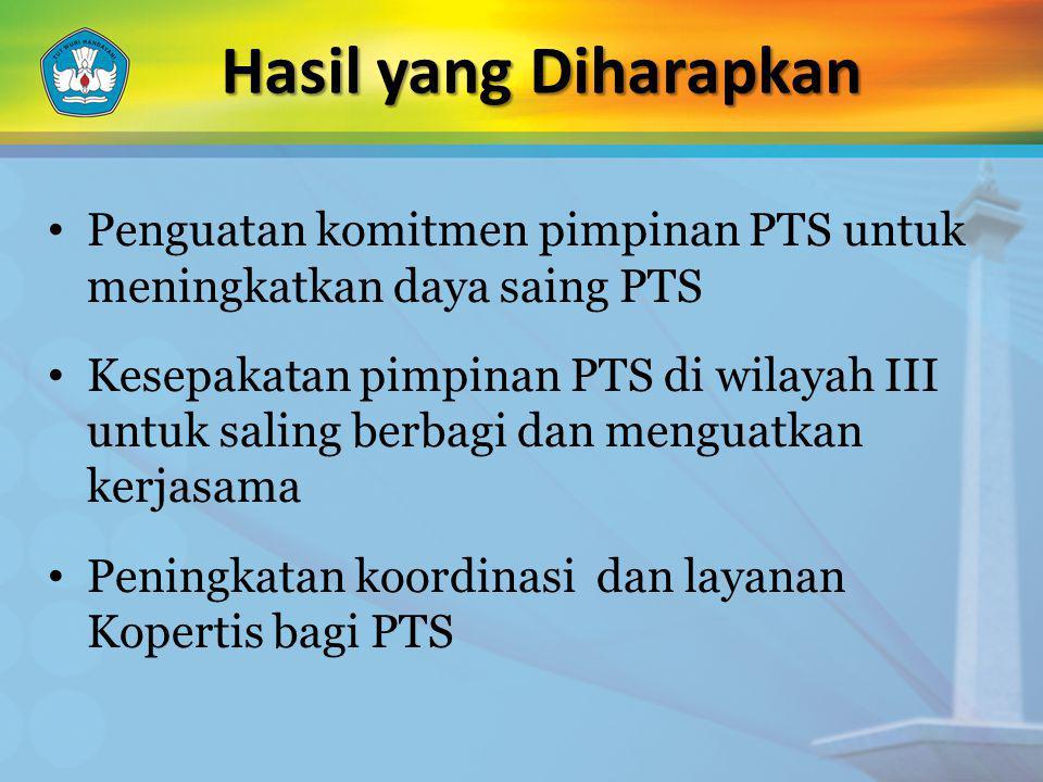 Hasil yang Diharapkan Penguatan komitmen pimpinan PTS untuk meningkatkan daya saing PTS.