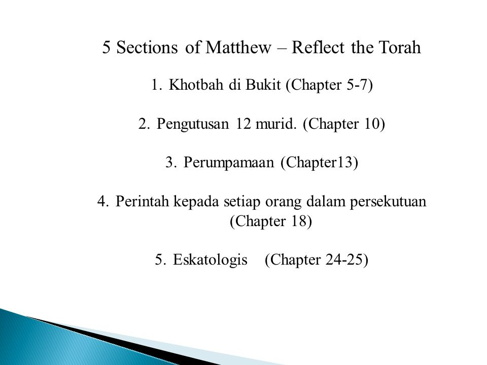 5 Sections of Matthew – Reflect the Torah