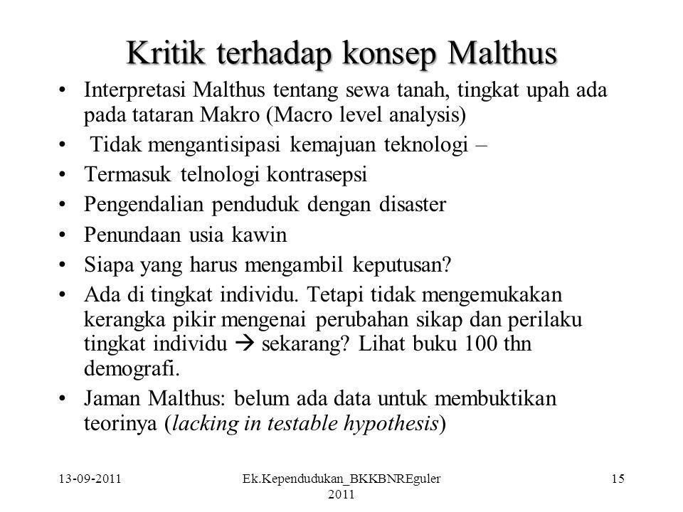 Kritik terhadap konsep Malthus