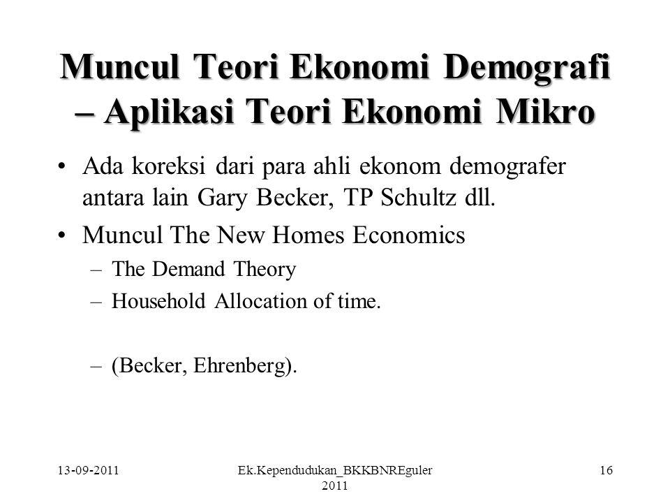 Muncul Teori Ekonomi Demografi – Aplikasi Teori Ekonomi Mikro