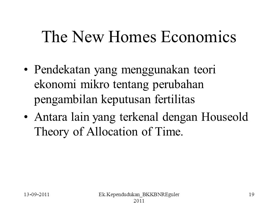 The New Homes Economics