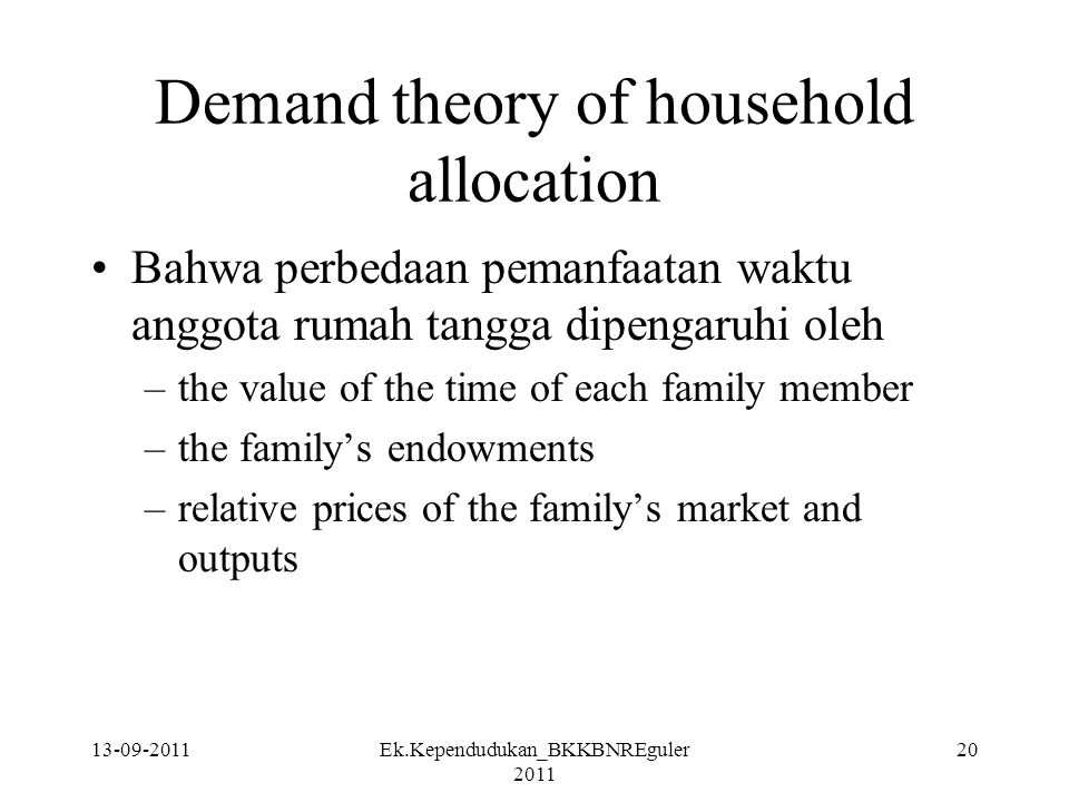 Demand theory of household allocation
