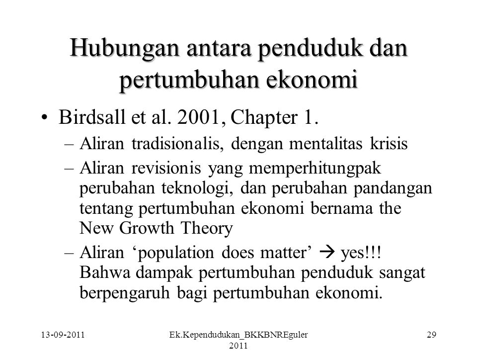 Hubungan antara penduduk dan pertumbuhan ekonomi