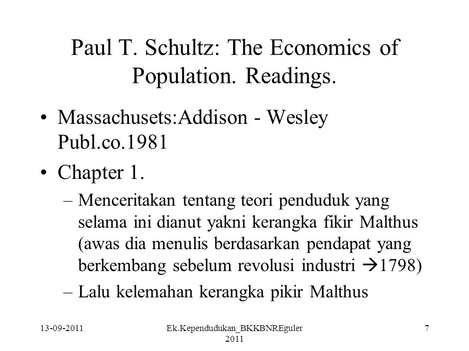 Paul T. Schultz: The Economics of Population. Readings.