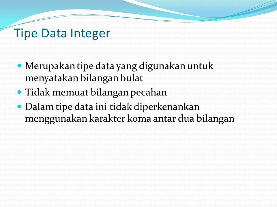 Tipe Data Integer Merupakan tipe data yang digunakan untuk menyatakan bilangan bulat. Tidak memuat bilangan pecahan.