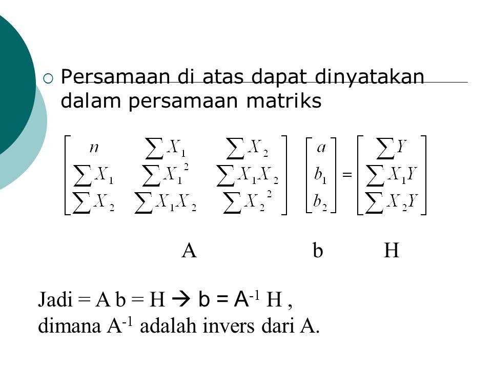dimana A-1 adalah invers dari A.