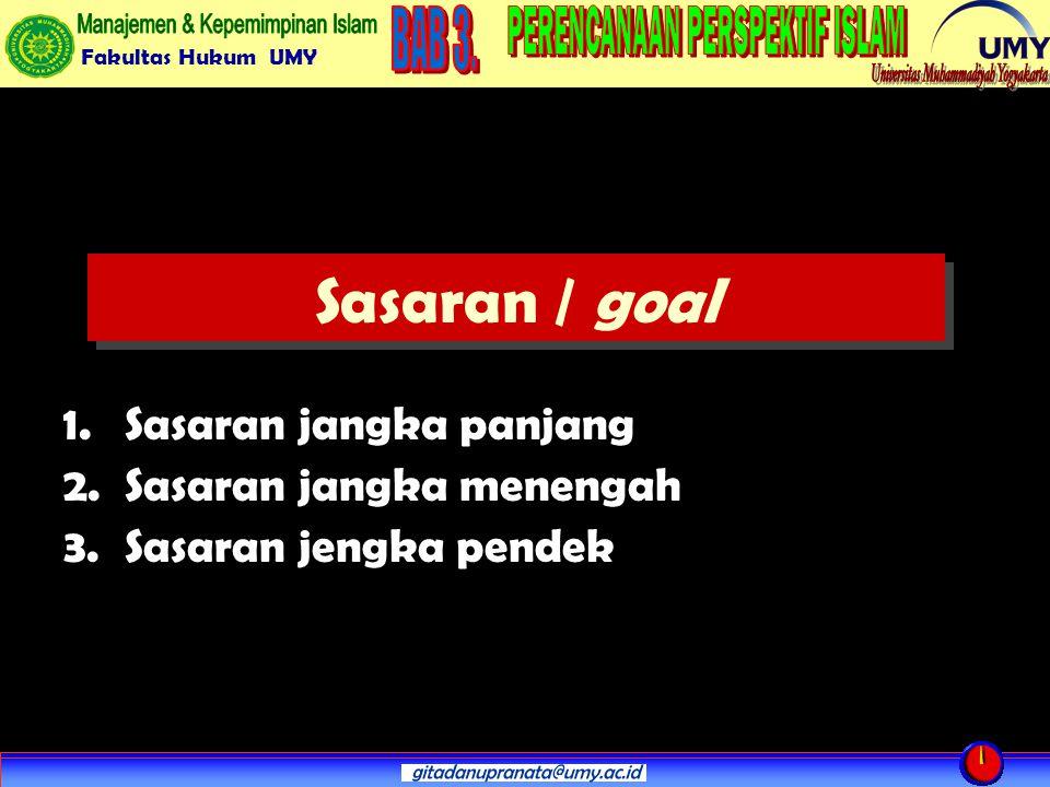 Sasaran / goal Sasaran jangka panjang Sasaran jangka menengah