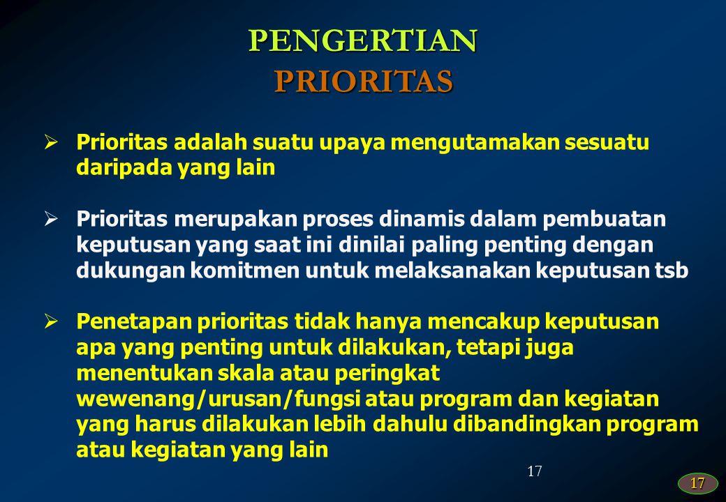 PENGERTIAN PRIORITAS. Prioritas adalah suatu upaya mengutamakan sesuatu daripada yang lain.