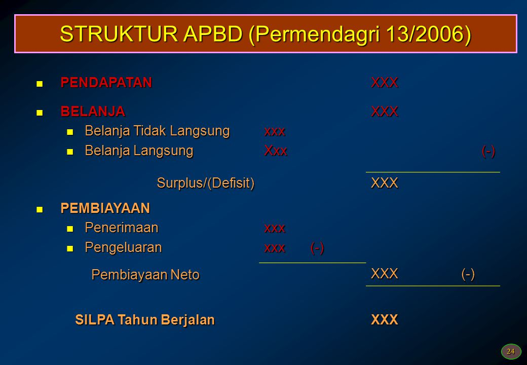 STRUKTUR APBD (Permendagri 13/2006)