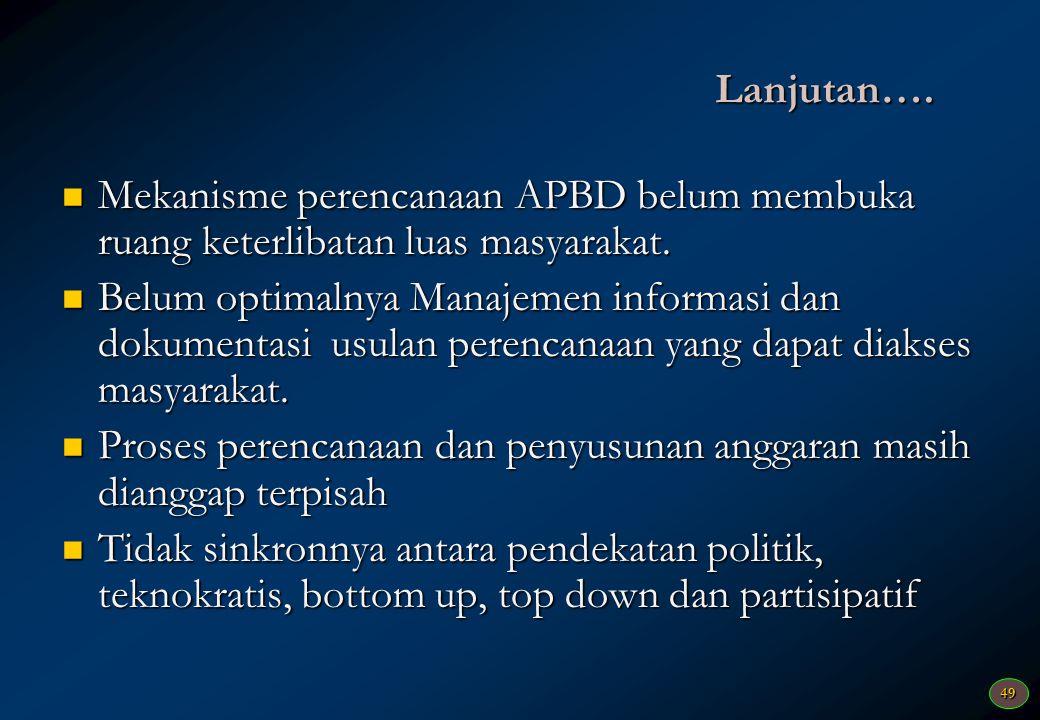 Lanjutan…. Mekanisme perencanaan APBD belum membuka ruang keterlibatan luas masyarakat.